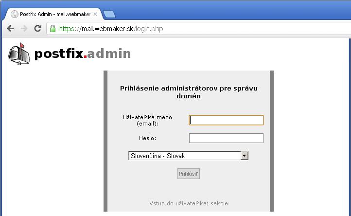 Vstup doadministrácie mailových schránok