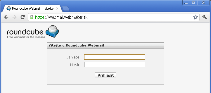Prihlásenie doschránky webmailu naserveri WebMaker